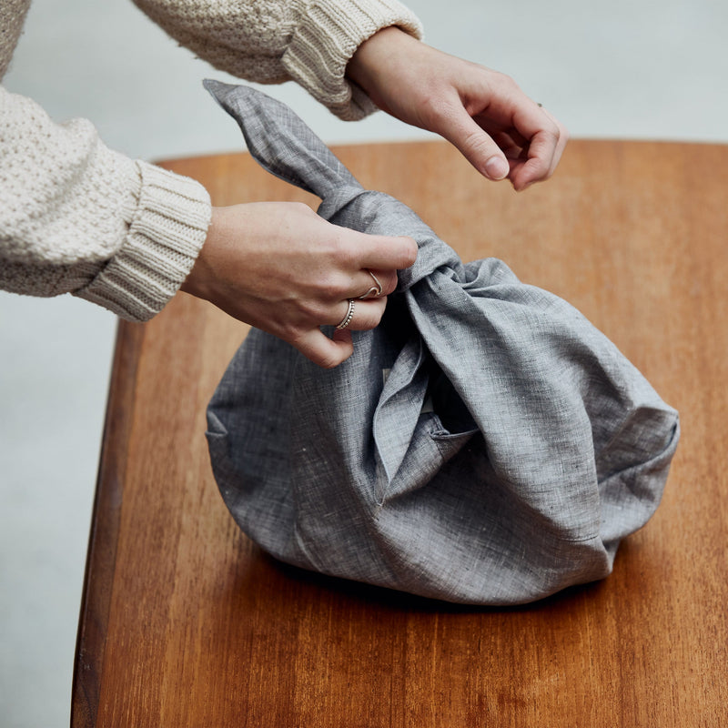 Confetti Mill - Large Linen Azuma Bag, Grey