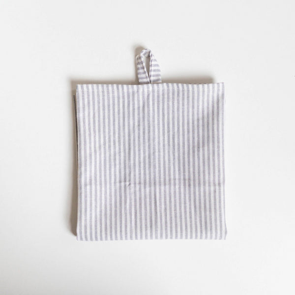 Lekko Life Goods, Linen Tea Towel, Grey Striped