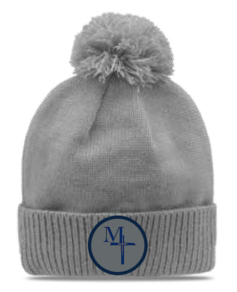 Solid Beanie with Pom- MT (pelican)