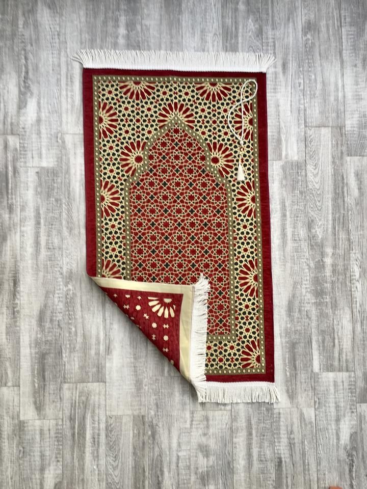 Luxury Red Geometric Motif Prayer Mat