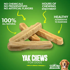 Premium Himalayan Yak Milk Dog Chews for Small Dogs - Handmade Himalayan Dog Chew Treats for All Breeds - 100% Natural Long Lasting Yak Stick Chews for Puppies