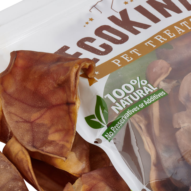 Brazilian Pig Ears by EcoKind Dog Treats and Chews Thick-Cut, All Natural Dog Treats
