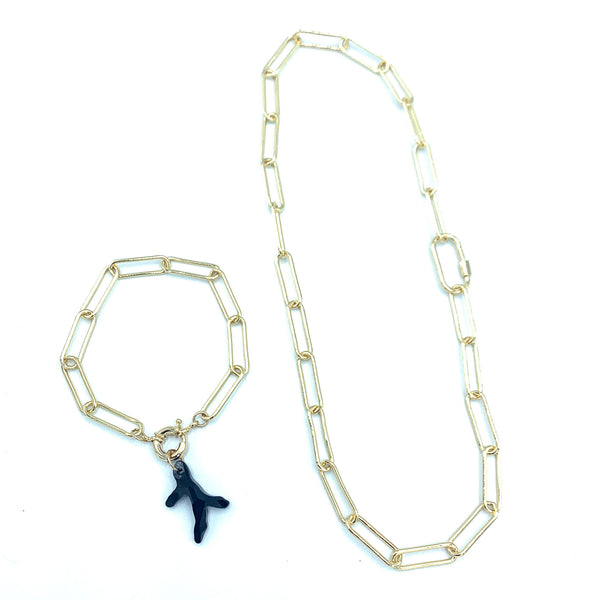 Classic Long Paperclip Chain--- *MATCHING SET* Limited*--