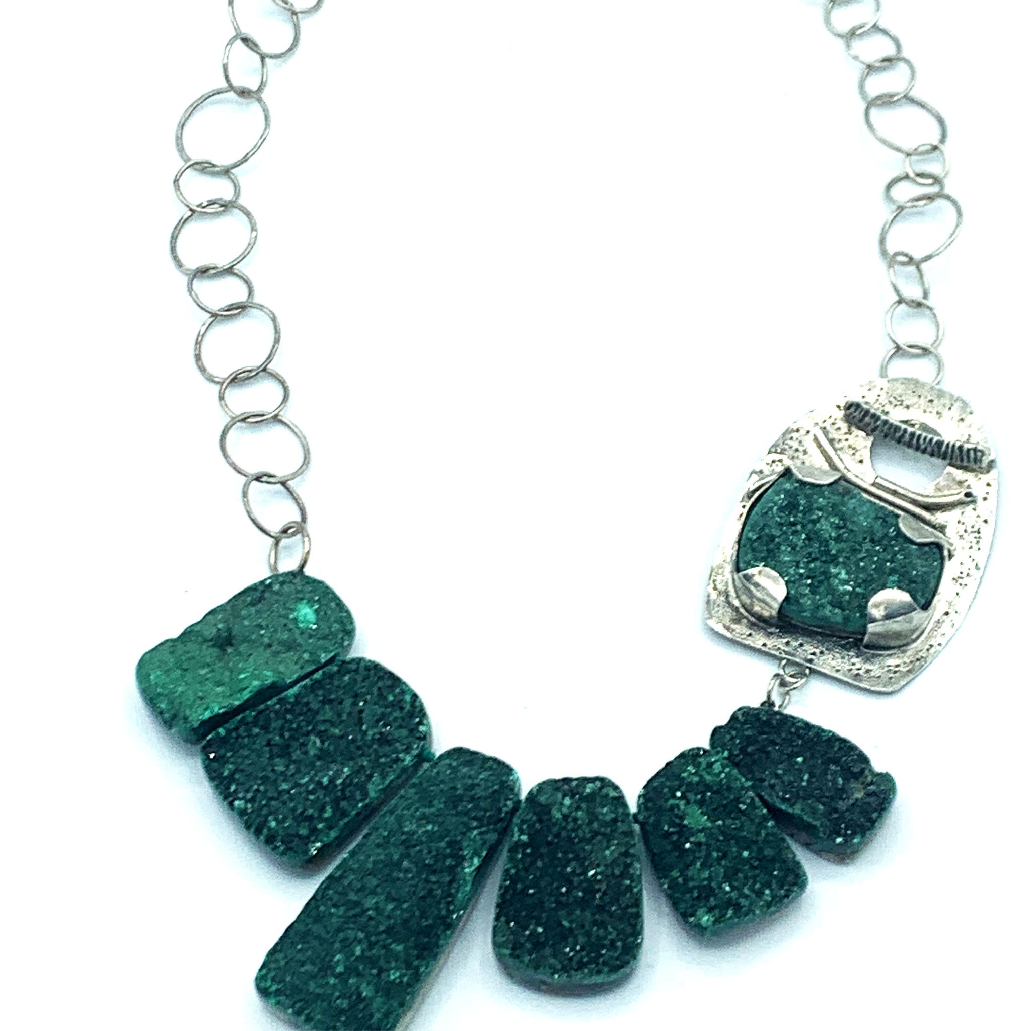 Malachite Druzy Necklace