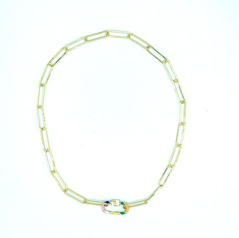 Rainbow Candy Cane Link Necklace