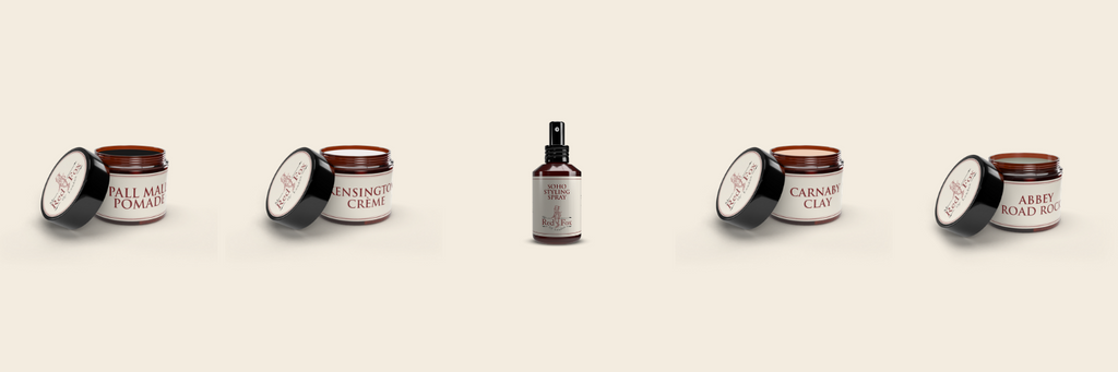 mr red fox of london styling products lined up in a row