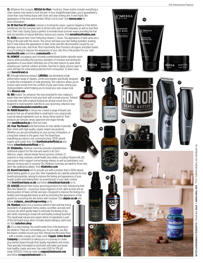 mr red fox of London soho styling spray featured in GQ's may magazine edition.