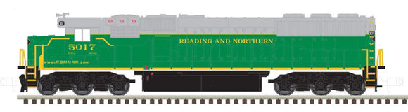 Scale: N<br/>EMD SD50 - Standard DC - Master Silver -- Reading & Northern 5049 (green, gray, yellow)