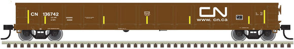 Scale: N - Evans 52' Gondola - Ready to Run -- Canadian National #136625 (Boxcar Red; Noodle Logo, Yellow Conspicuity Marks)