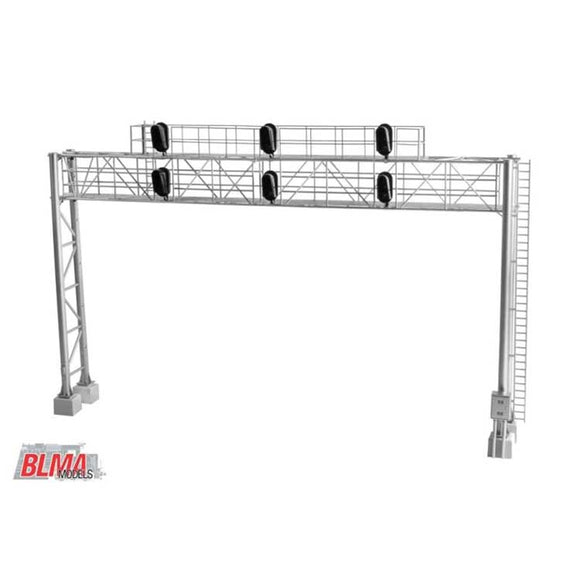 Scale: HO<br/>Modern Triple-Track Signal Bridge with 6 LED 3-Aspect Heads - Assembled -- 8-9/16