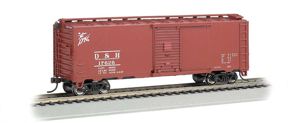 Scale: HO - Steam-Era 40' Steel Boxcar - Ready to Run - Silver Series(R) -- Delaware & Hudson (Boxcar Red, Small Scrpt Logo)