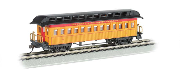 Scale: HO - Old Time Wood Coach with Round-End Clerestory Roof - Ready to Run -- Western & Atlantic (yellow, red, black)