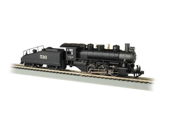 Scale: HO - USRA 0-6-0 w/Slope-Back Tender, DCC & Smoke -- Wabash #516 (black, graphite)