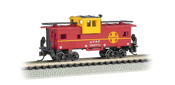 Scale: N - 36' Wide-Vision Caboose - Ready to Run - Silver Series(R) -- Atchison, Topeka & Santa Fe #999771 (red, yellow)