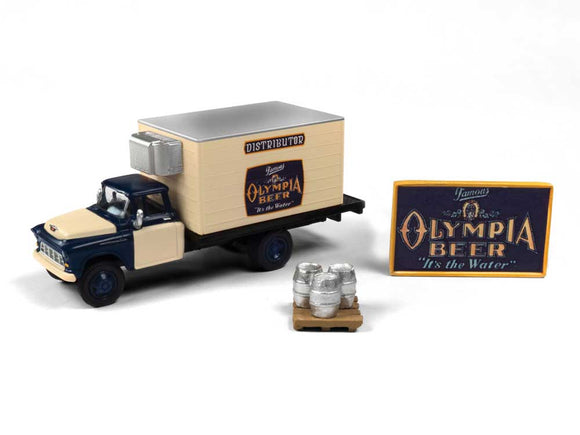 1955 Chevy Beer Truck with Kegs, Skid and Sign - Assembled -- Olympia Beer -  Scale: HO