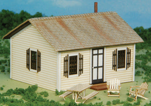 "Open Hearth Inn Rental Cabin 4-Pack w/4 Tables & 8 Chairs -- Laser-Cut Matboard Kit - Each Cabin: 2-7/8 x 2-5/8 x 1-7/8""  7.3 x"