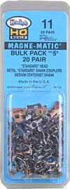 #11 Bulk Pack No.5(R) Knuckle Couplers -- No Draft Gear Boxes - 20 Pairs -  Scale: HO