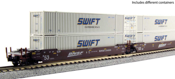 Scale: N - Gunderson MAXI-IV 3-Unit Well Car with 6 53' Containers - Ready to Run -- BNSF Railway 253411 (Boxcar Red, Wedge Logo