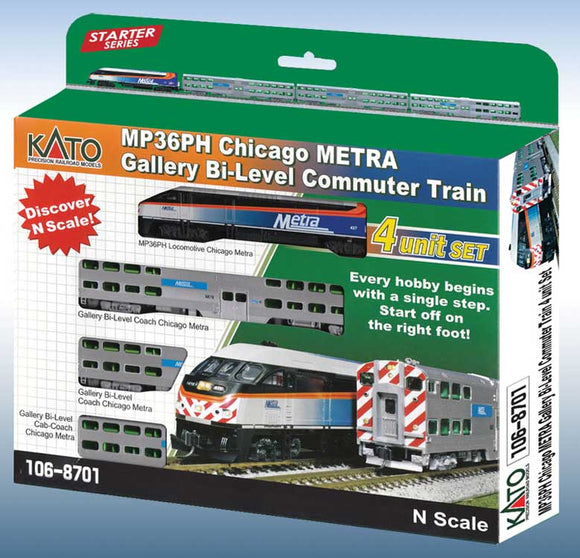 Chicago Metra Bi-Level Commuter Train-Only Set - Standard DC -- MP36PH, 2 Bi-Level Coaches, Bi-Level Cab Car