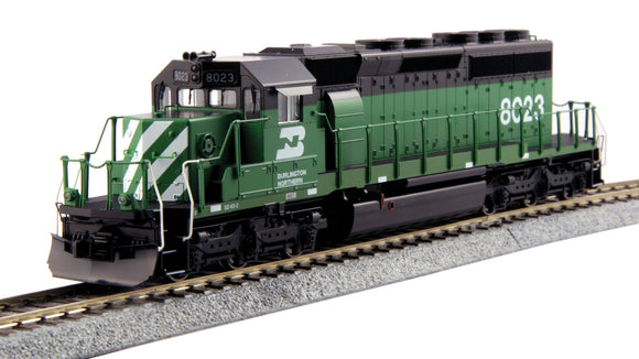 Scale: HO - EMD SD40-2 Mid-Production - Standard DC -- Burlington Northern #8023 (Cascade Green, white, black)