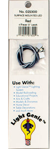 "LED w/10""  25.4cm Wire Leads 4-Pack - Light Genie(TM) -- Red -  Scale: HO"