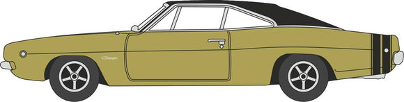 1968 Dodge Charger - Assembled -- Gold, Black -  Scale: HO