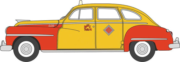 1946-1948 Desoto Suburban Sedan - Assembled -- San Francisco Taxi (yellow, red) -  Scale: HO