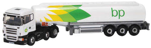Scania Highline Tractor with Tank Trailer - Assembled -- BP (white, green, yellow) -  Scale: N