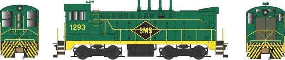 Scale: HO<br/>Baldwin DS 4-4-1000 - Standard DC - Executive Line -- SMS Services 1293 (green, yellow, black, 4 Stacks)