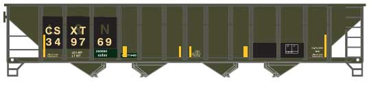 100-Ton 4-Bay (Quad) Hopper with Coal Load - Ready to Run -- CSX 349670 (Restencilled L&N, black, yellow, yellow Conspicuity Mar