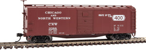 "Scale: HO - 40' Rebuilt Steel Boxcar - Ready To Run -- Chicago & North Western(TM) #3388 (Boxcar Red, ""Route of the 400"" Slogan)"