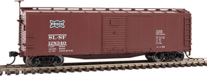 40' Rebuilt Steel Boxcar - Ready To Run -- St. Louis-San Francisco #128340 (Boxcar Red, black, Frisco Coonskin Logo) -  Scale: H