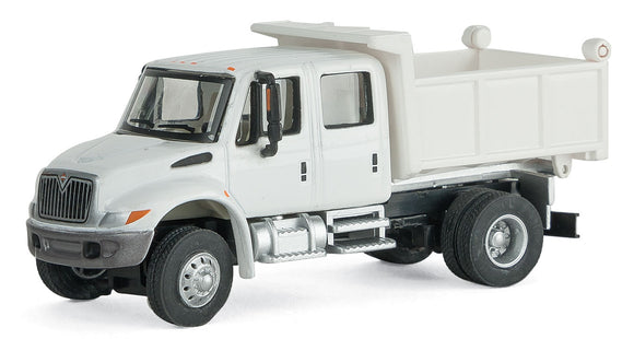 Scale: HO - International(R) 4300 Crew Cab Dump Truck - Assembled -- White w/Railroad Maintenance-of-Way Logo Decals
