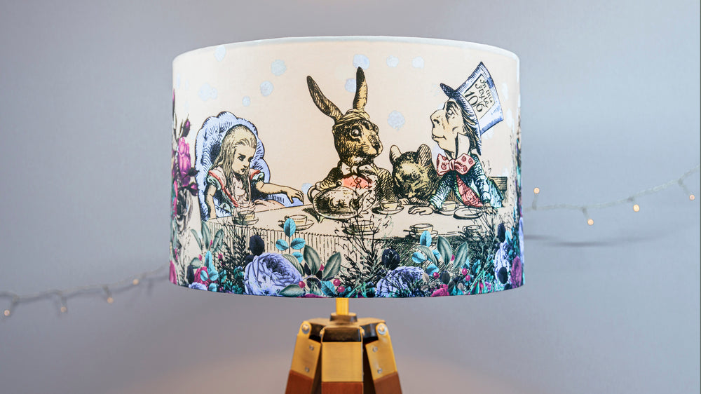 Velvet Alice in Wonderland Lampshade, in blue and purple.  Can be made for a ceiling / pendant fitting, or table or floor lamp.
