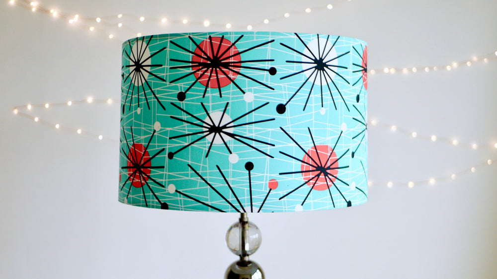 Mid Century Atomic Style Lampshade, Lampshade Ceiling, Lamp Shade for Table Lamp, Standard Lamp, Blue and Red, is very Vintage and Retro Inspired