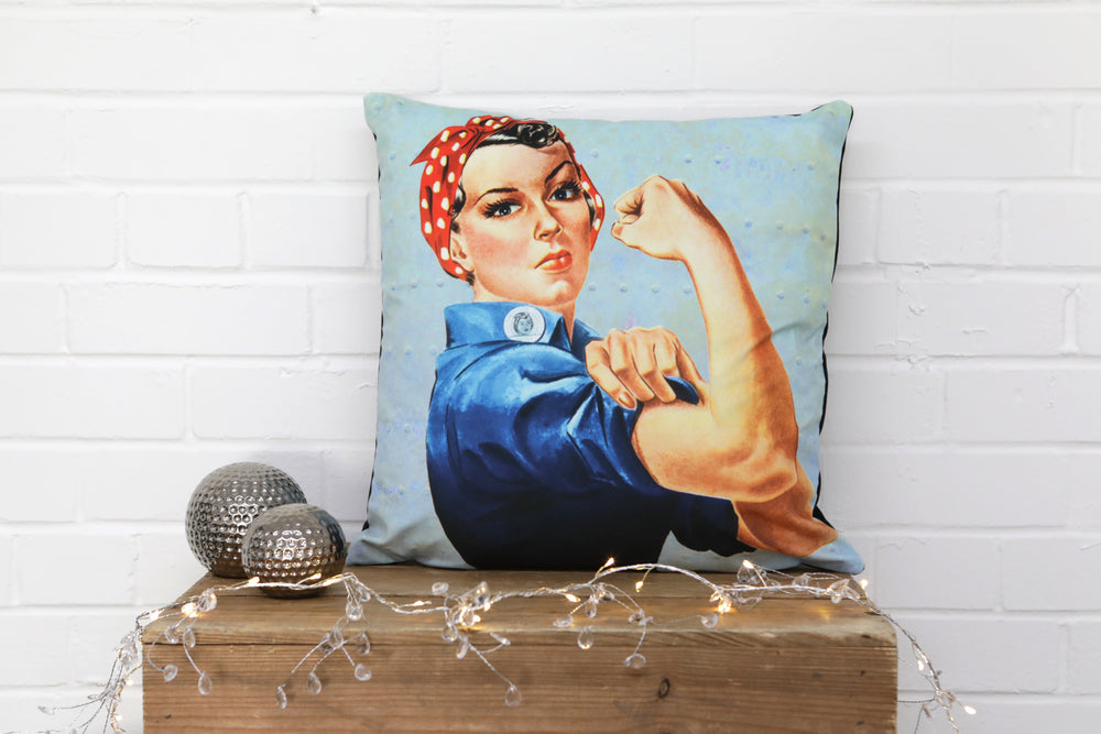 A luxurious velvet cushion, featuring Rosie Riviter, a Feminist Icon.  You can do it!  Made from luxurious velvet, would make a real statement on any sofa