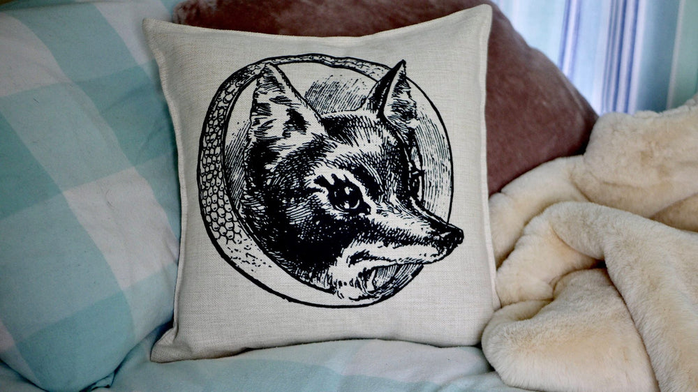Fox Cushion - Canvas Feel Cushion inc. Inner 45cm x 45cm