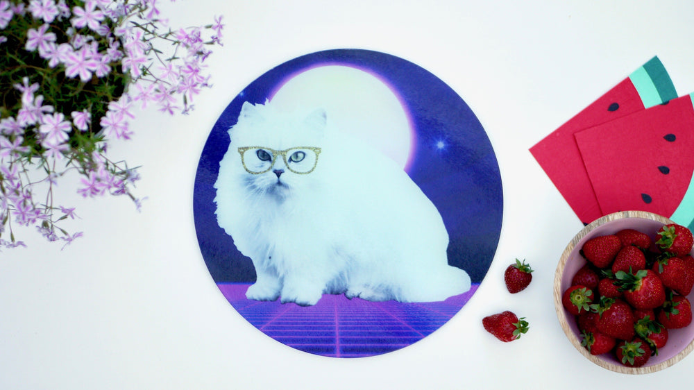 Disco Cat in Space Glass Worktop Saver - Chopping Board - Placemat - Kitsch Republic