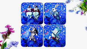 Alice in Wonderland Coasters - Blue - Set of 4 - Kitsch Republic