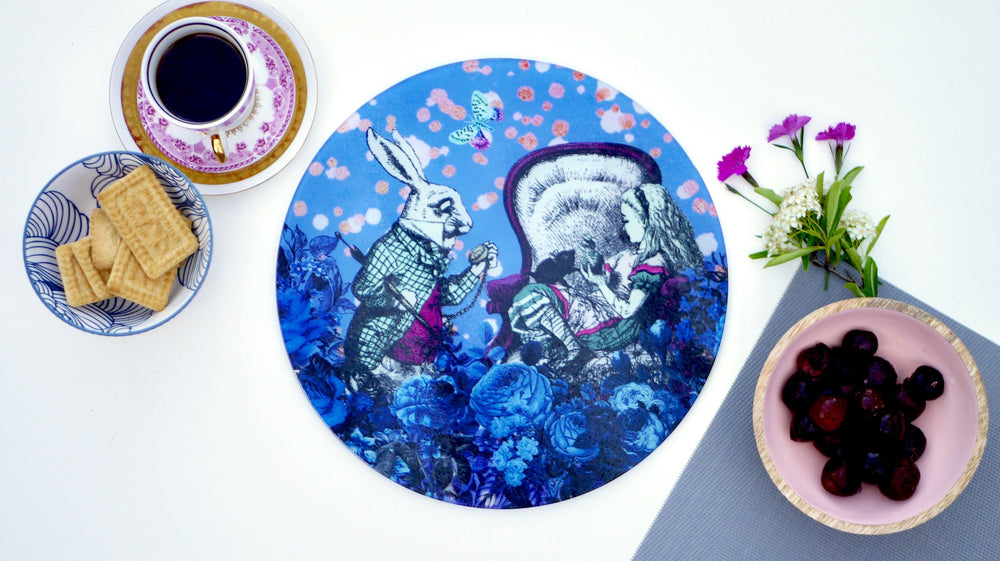 Alice in Wonderland Blue Worktop Saver - Chopping Board - Placemat - Kitsch Republic