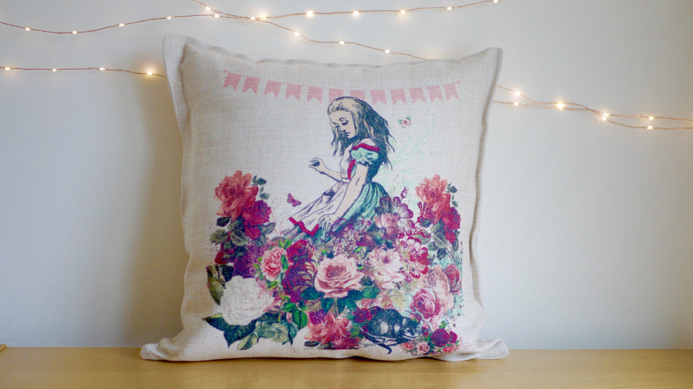 Load image into Gallery viewer, Alice in Wonderland Pink Blush - Canvas Feel Cushion inc. Inner 40cm x 40cm - Kitsch Republic
