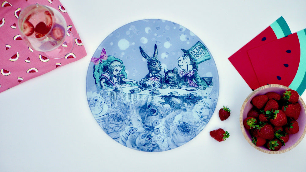 Alice in Wonderland Grey Worktop Saver - Chopping Board - Placemat - Kitsch Republic