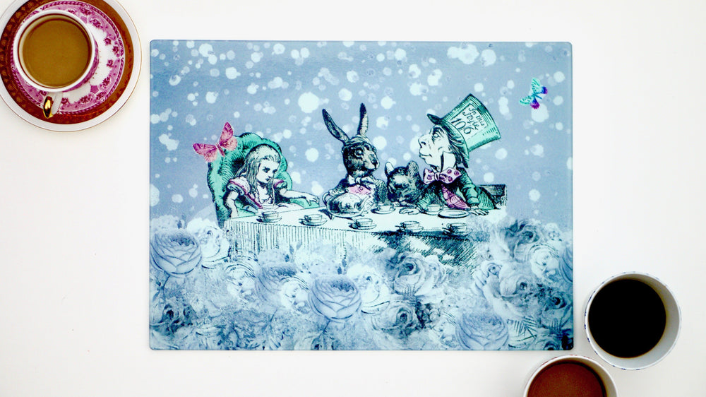 Alice in Wonderland Grey 40cm x 30cm Worktop Saver - Kitsch Republic