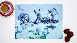 Load image into Gallery viewer, Alice in Wonderland Grey and Blue 40cm x 30cm Worktop Saver
