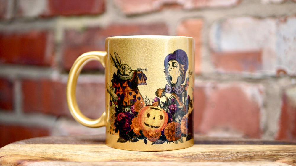 Gold Halloween Alice in Wonderland Mug - Ceramic Mug