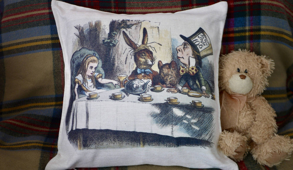 Alice Mad Hatters Tea Party Cushion - Canvas Feel Cushion inc. Inner 40cm x 40cm - Kitsch Republic