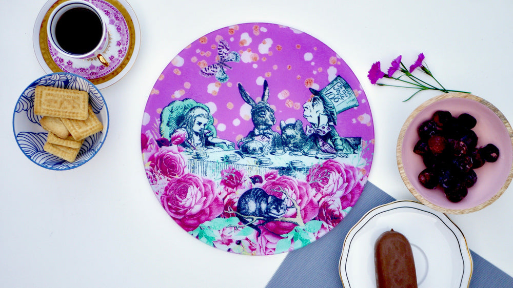 Load image into Gallery viewer, Alice in Wonderland Pink Worktop Saver - Chopping Board - Placemat - Kitsch Republic