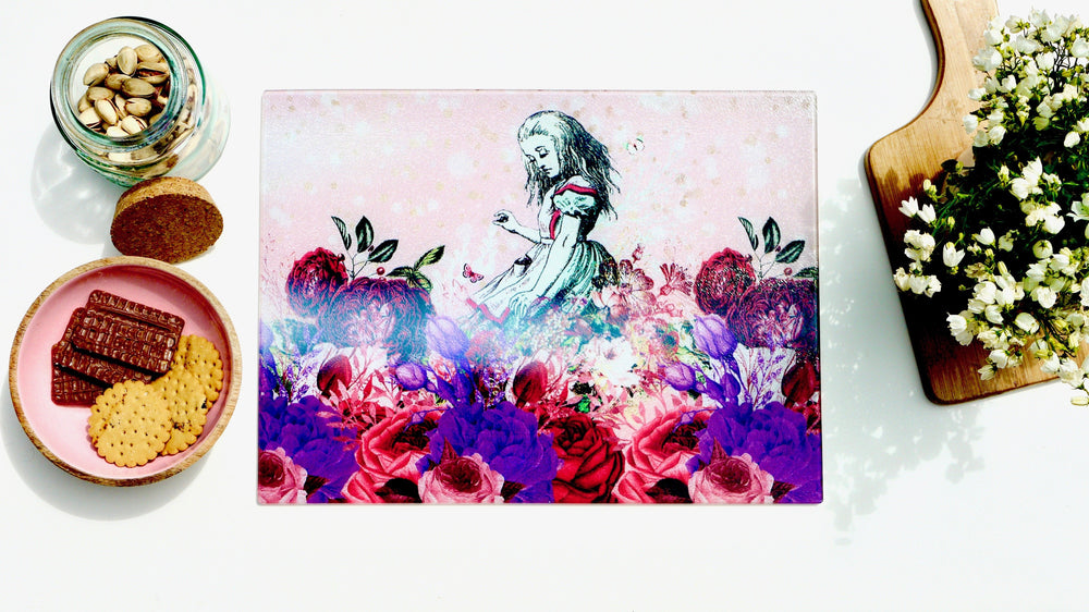 Alice in Wonderland Pink 40cm x 30cm Worktop Saver - Kitsch Republic