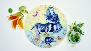 Alice in Wonderland Yellow Glass Chopping Board