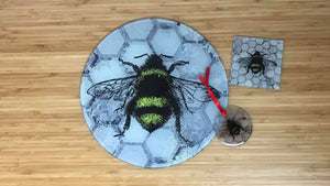 Grey Patchwork Bee Glass Gift Set - Worktop Saver, Decoration & Coaster